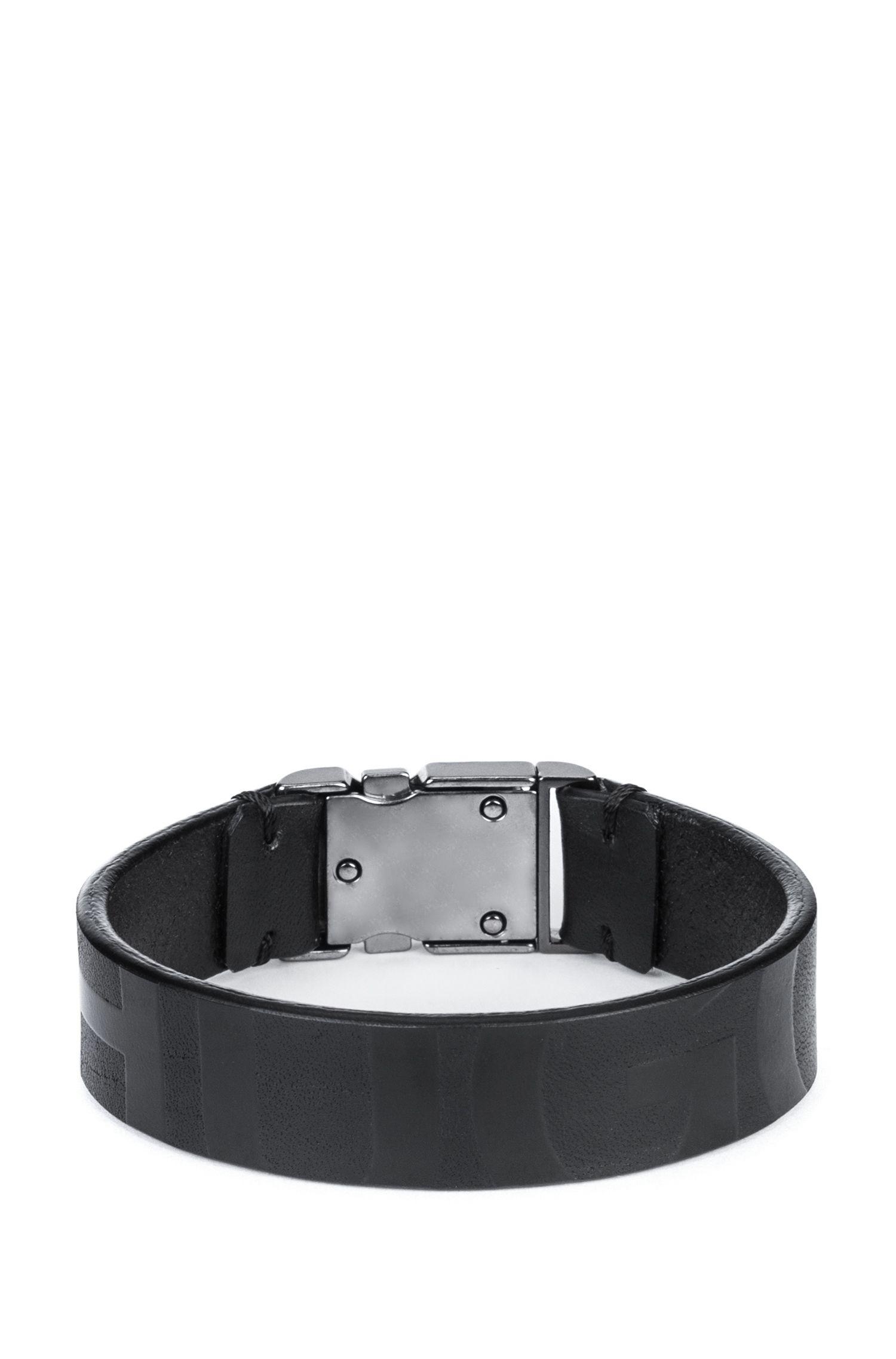 Pulsera de piel de napa con cierre de hebilla y logo estampado, Negro