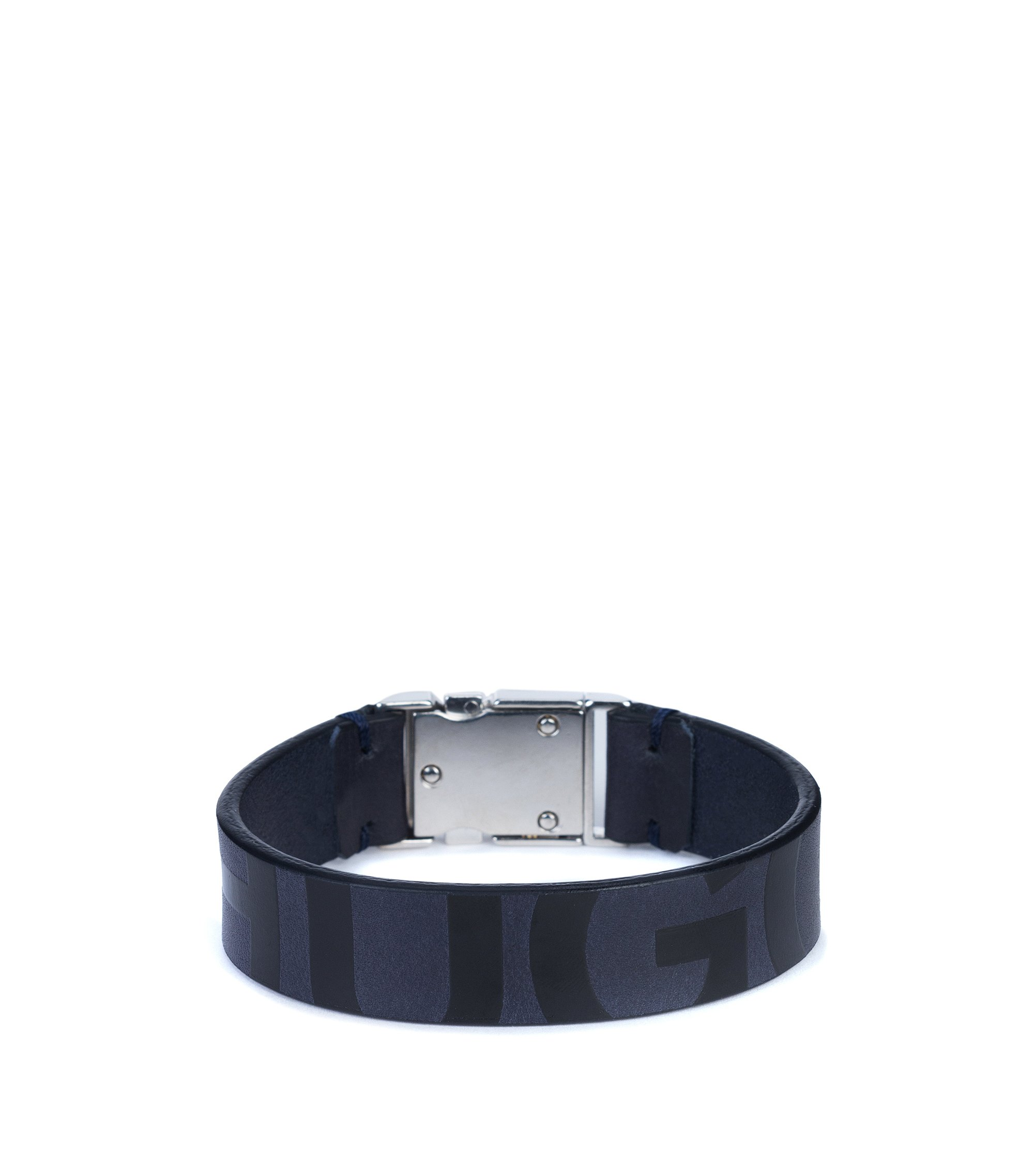 Buckle-closure bracelet in nappa leather with printed logo, Dark Blue
