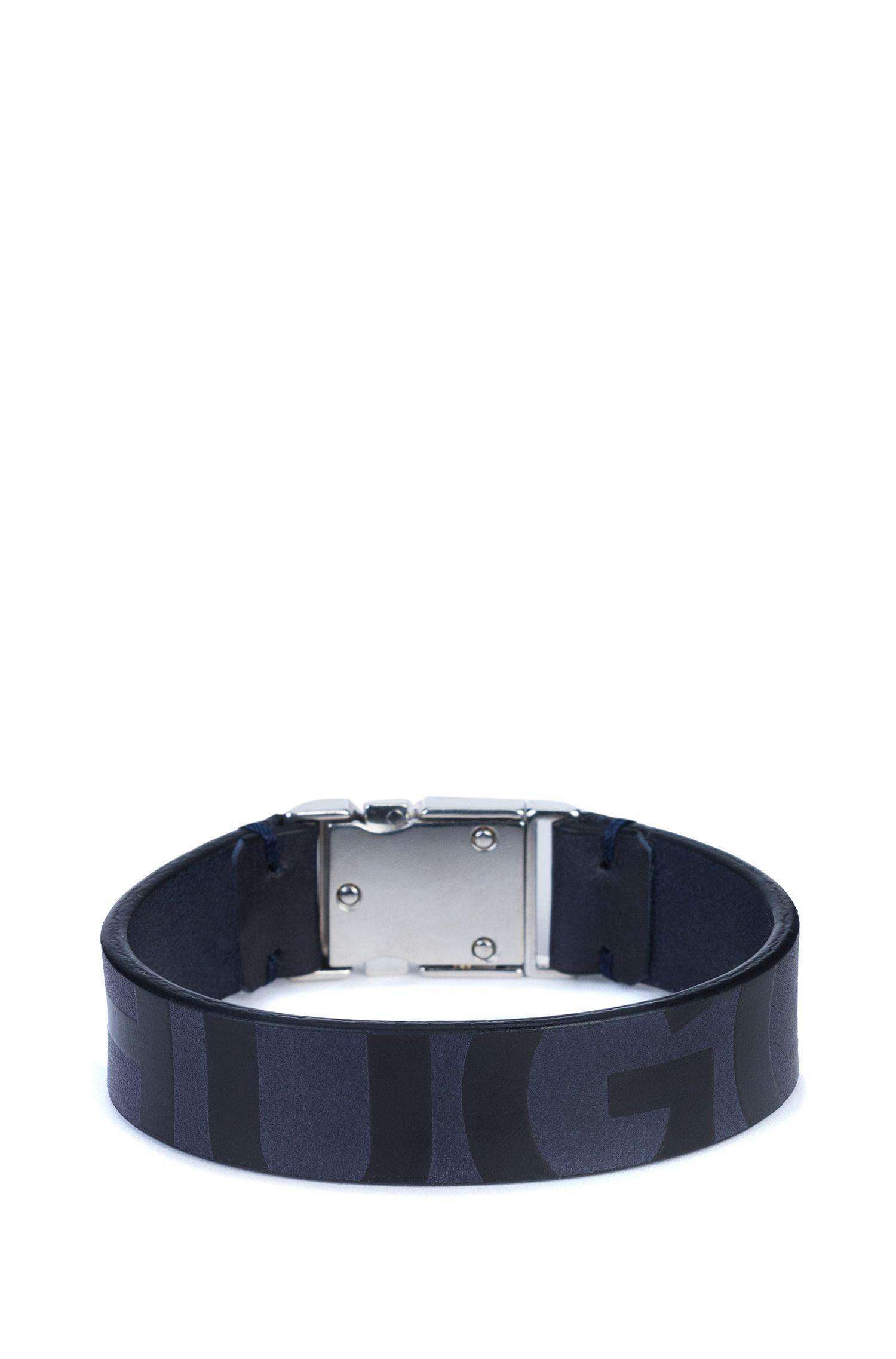 Pulsera de piel de napa con cierre de hebilla y logo estampado, Azul oscuro