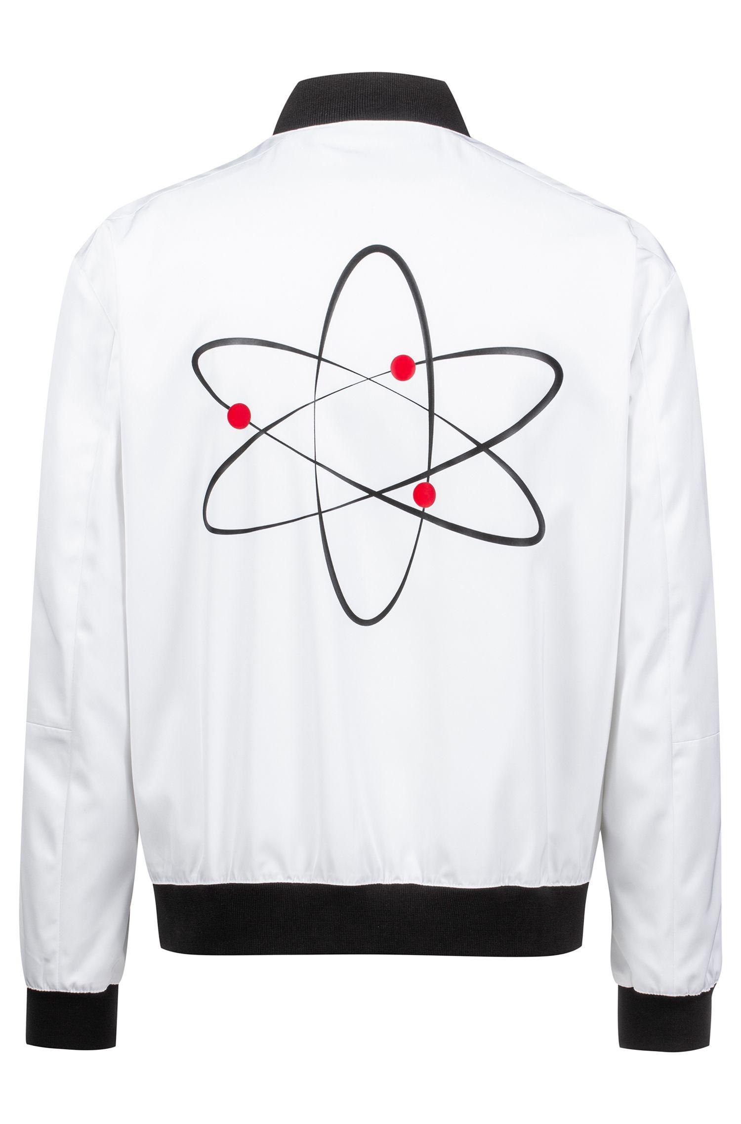 Bomber slim fit con atomo stampato, Bianco