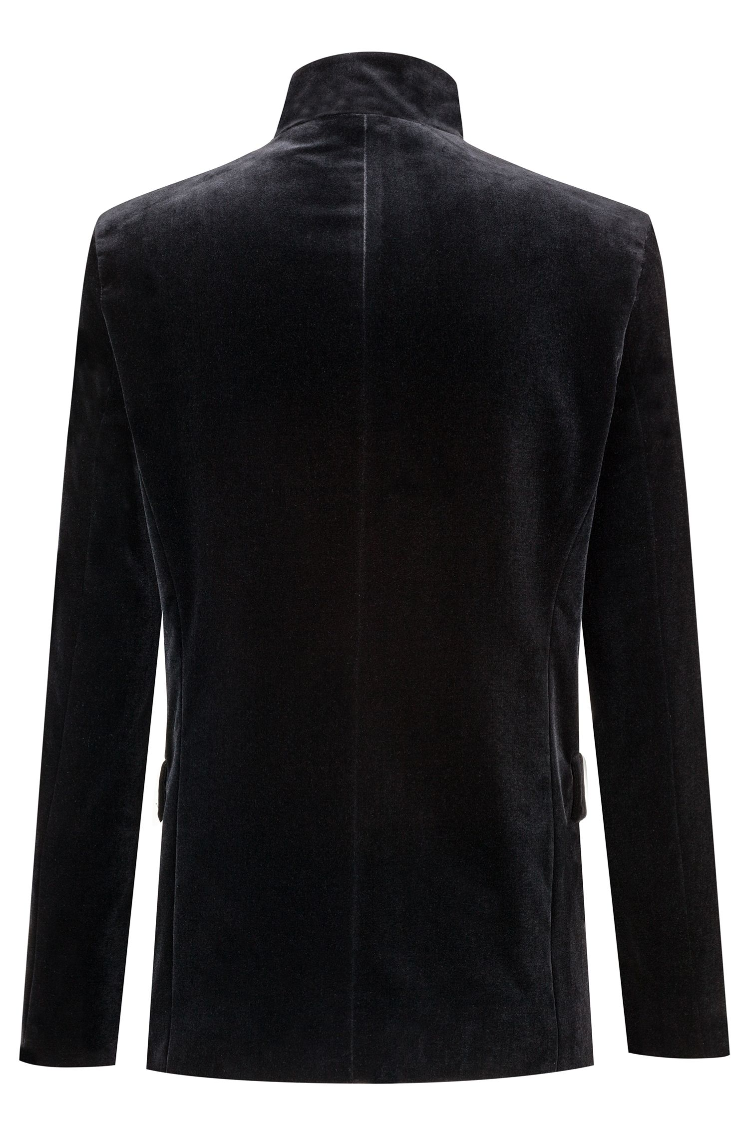 Blazer Regular Fit en velours avec fermeture éclair apparente centrée sur le devant, Noir