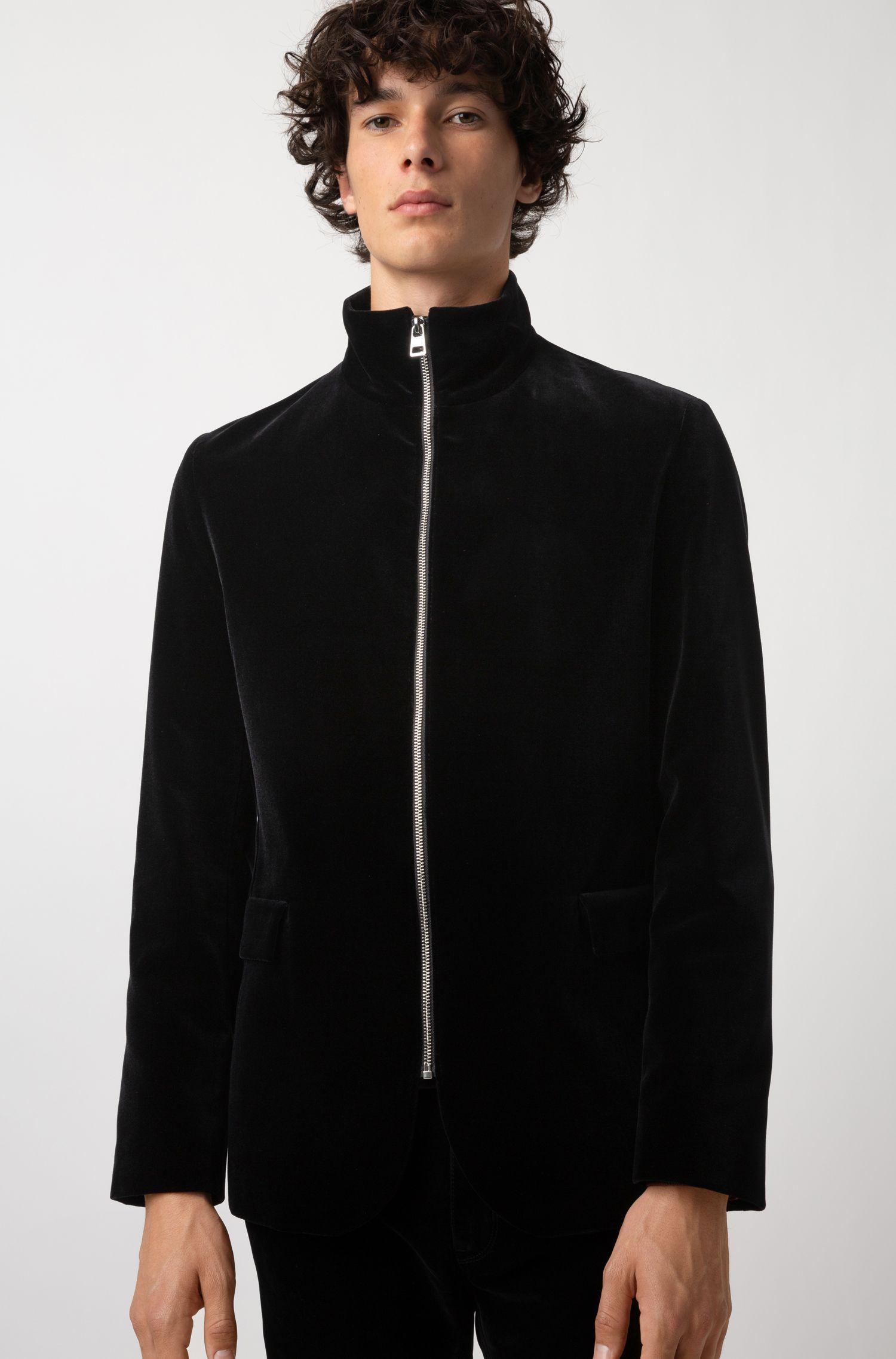 Blazer regular fit in velluto con zip a vista posta al centro nella parte anteriore, Nero