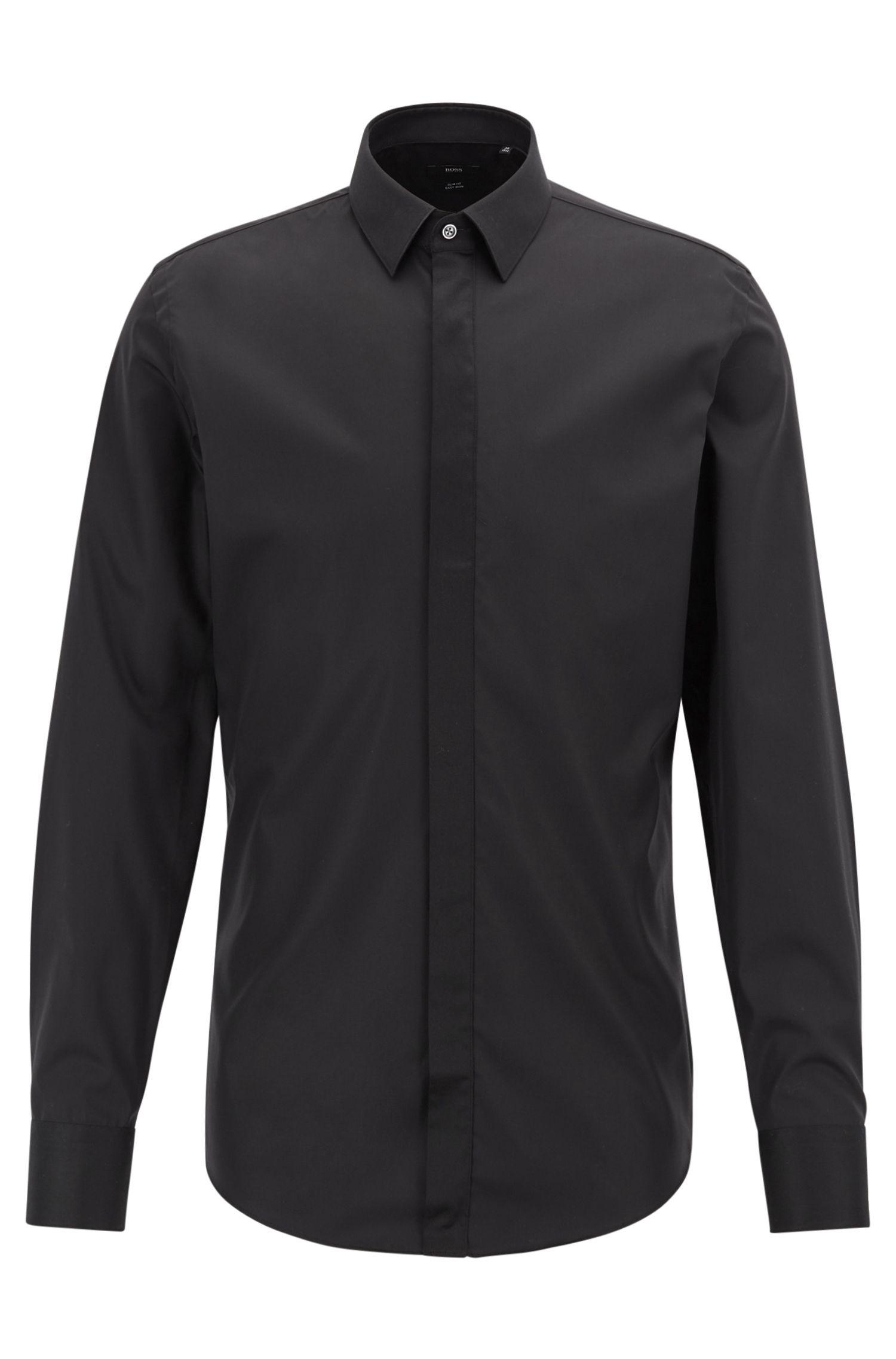 Bügelleichtes Slim-Fit Hemd mit kontrastfarbenen Details, Schwarz