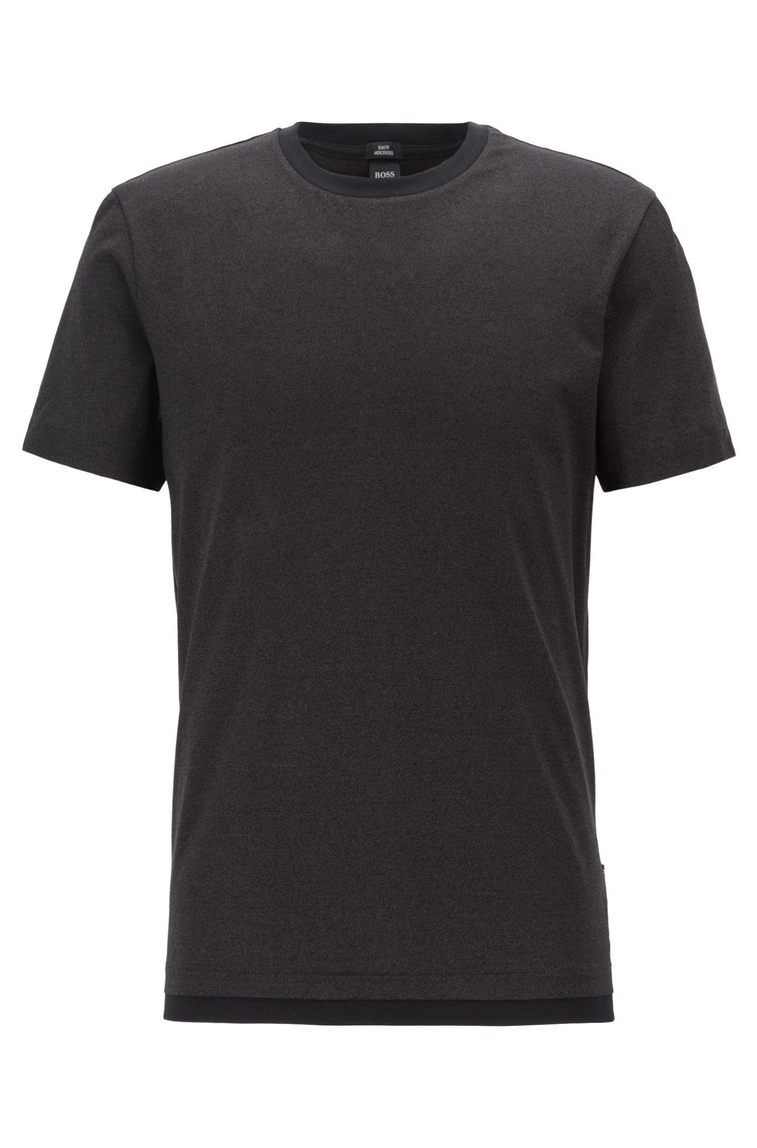Slim-Fit T-Shirt aus merzerisierter Mouliné-Baumwolle, Schwarz