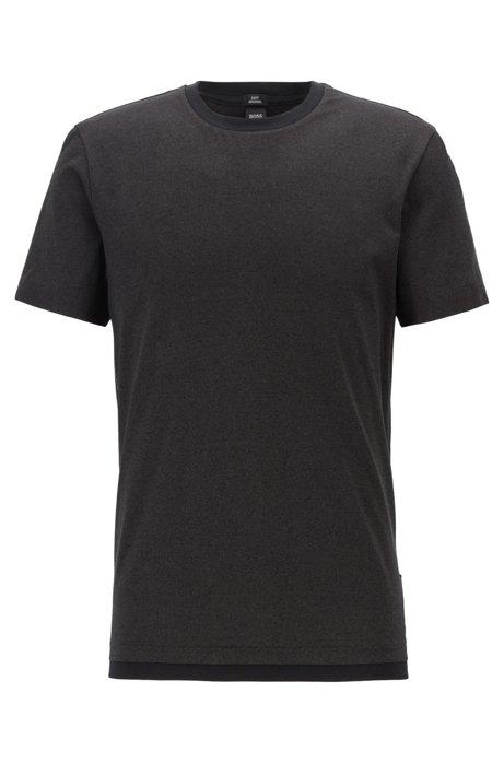 Camiseta slim fit en algodón mouliné mercerizado, Negro