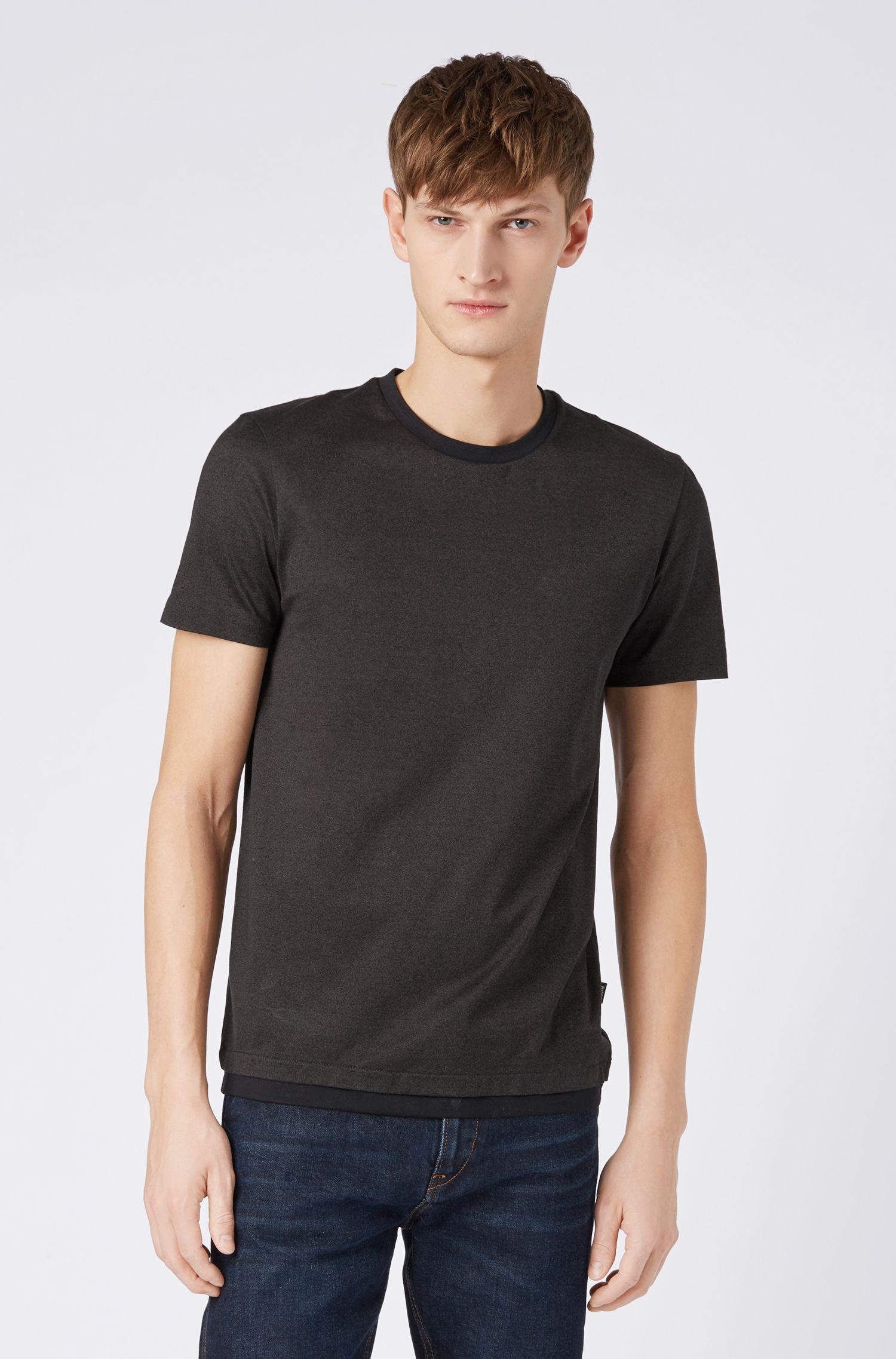 T-shirt Slim Fit en coton mouliné mercerisé, Noir