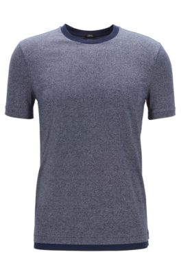 Slim-Fit T-Shirt aus merzerisierter Mouliné-Baumwolle, Dunkelblau