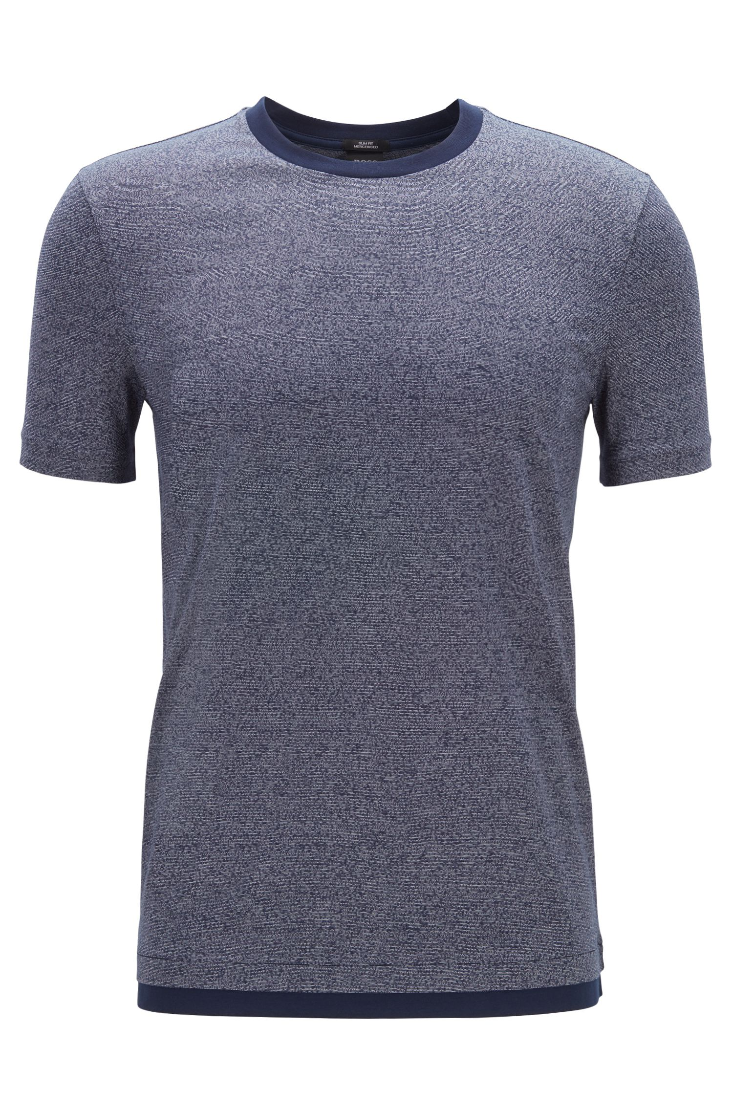 Slim-fit T-shirt in mercerised mouliné cotton, Dark Blue