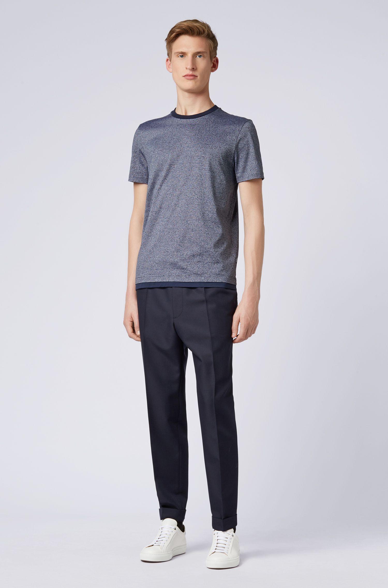 Camiseta slim fit en algodón mouliné mercerizado, Azul oscuro