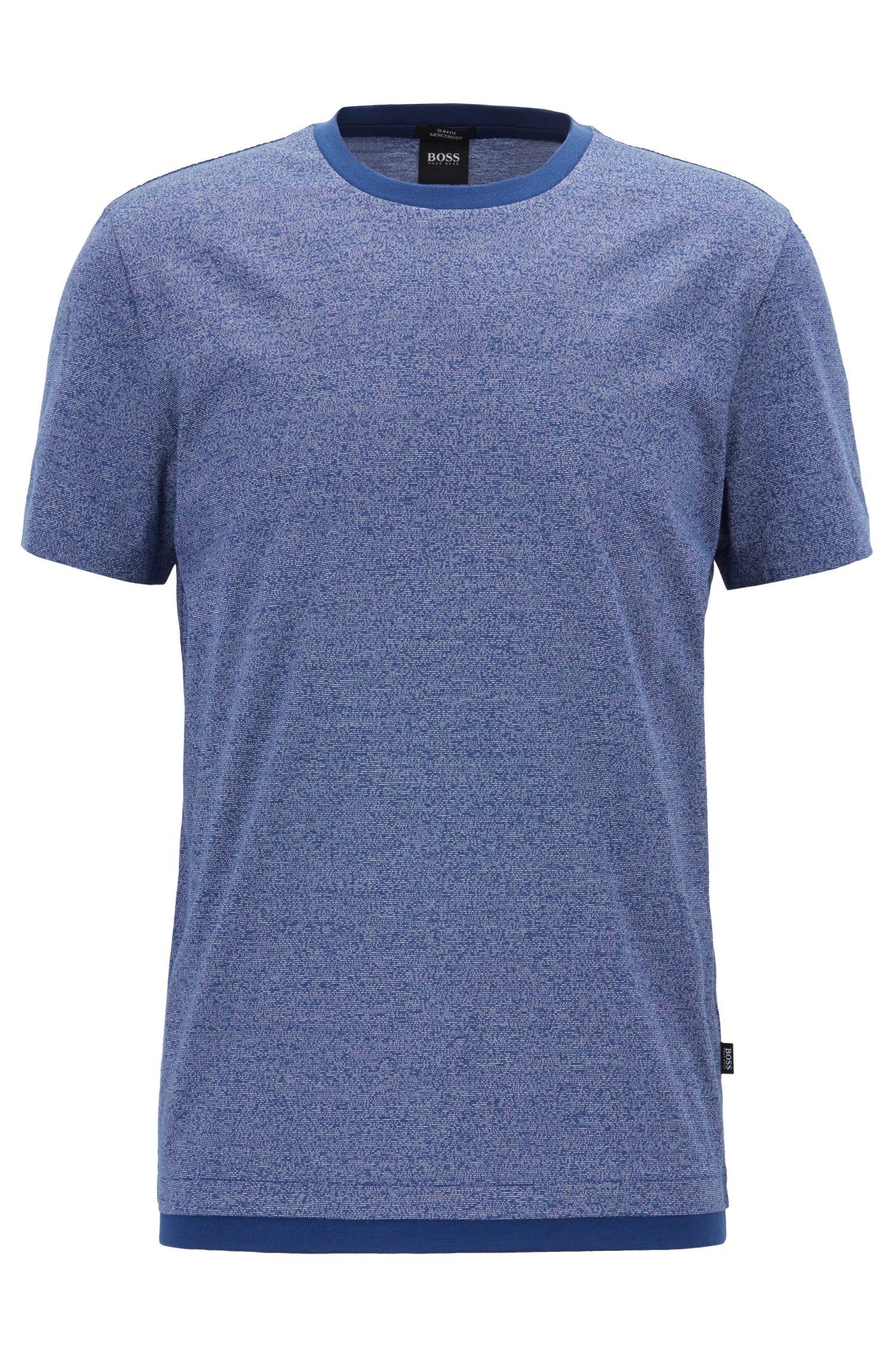 T-shirt Slim Fit en coton mouliné mercerisé, Bleu foncé