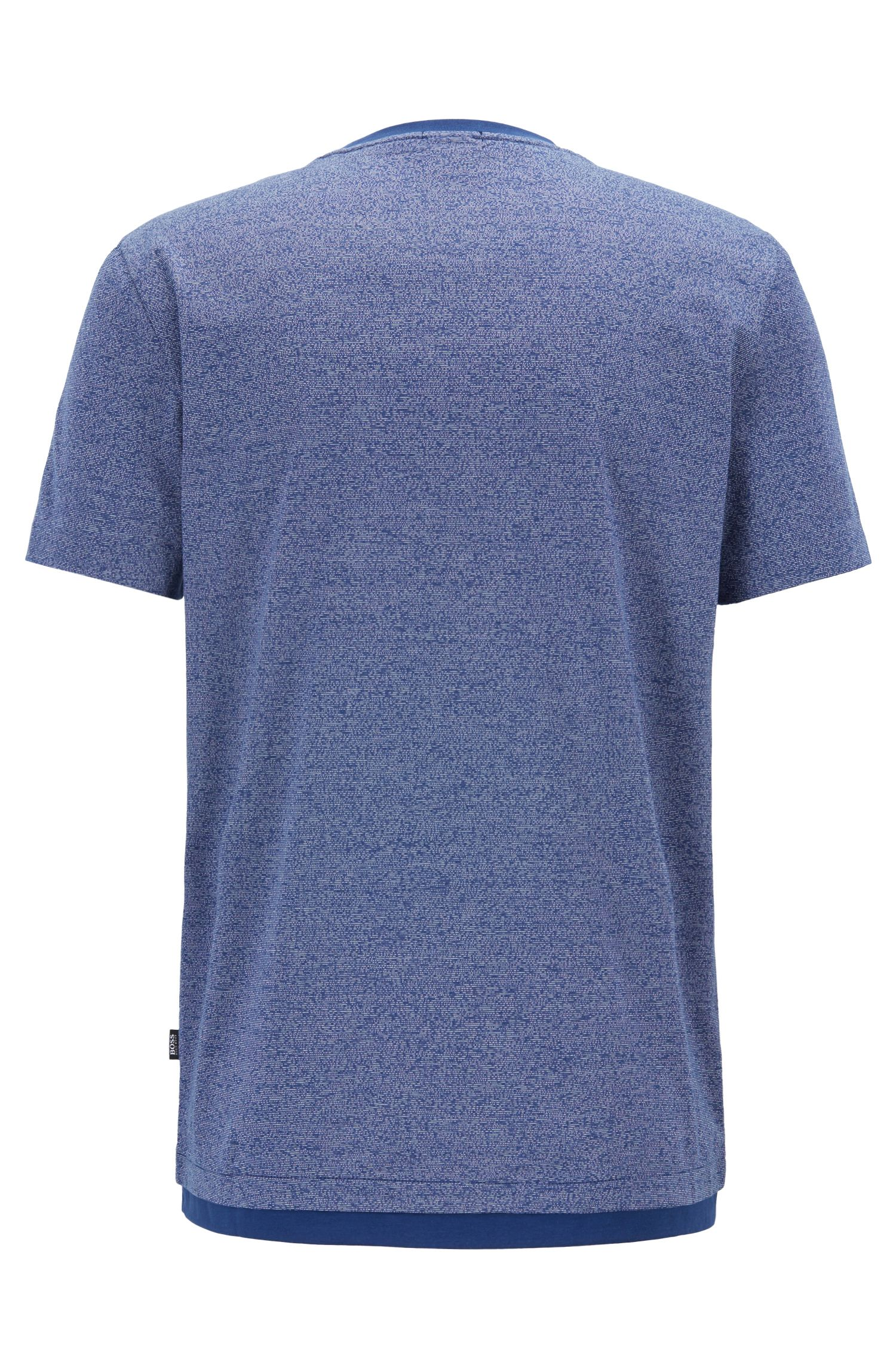 Slim-fit T-shirt van gemerceriseerde mouliné-katoen, Donkerblauw