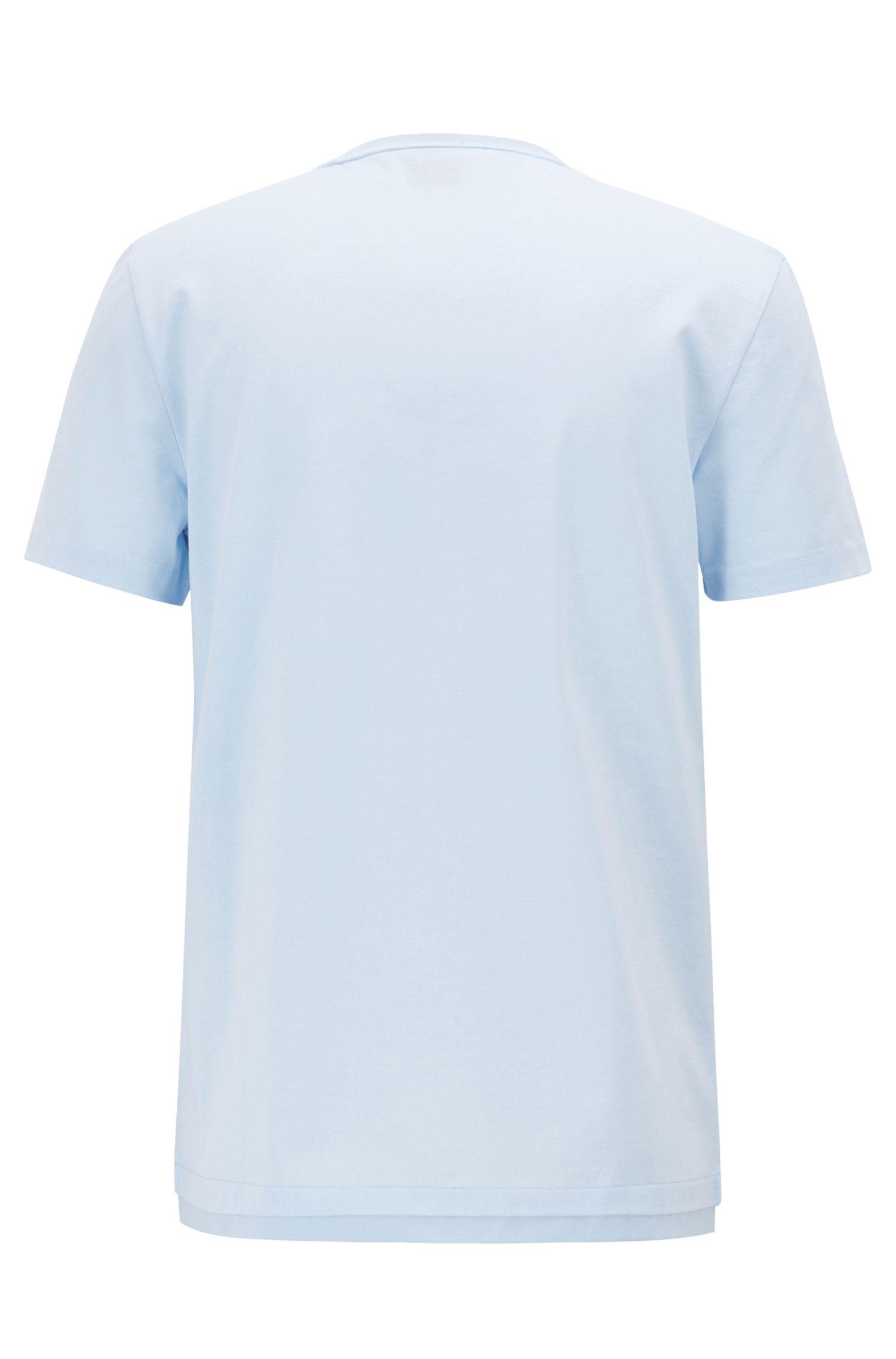 Slim-Fit T-Shirt aus merzerisierter Mouliné-Baumwolle, Hellblau