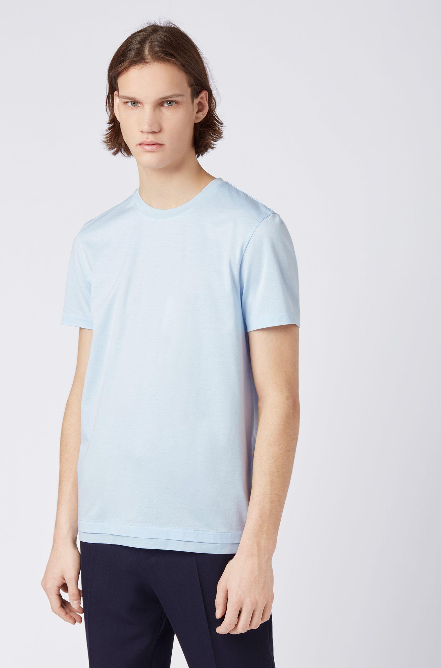 T-shirt slim fit in cotone mouliné mercerizzato, Celeste