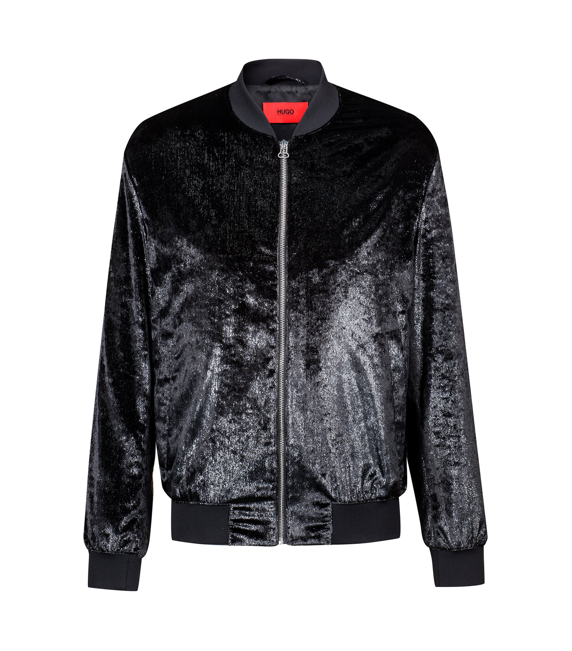 Slim-fit bomber jacket in metallic velvet, Black