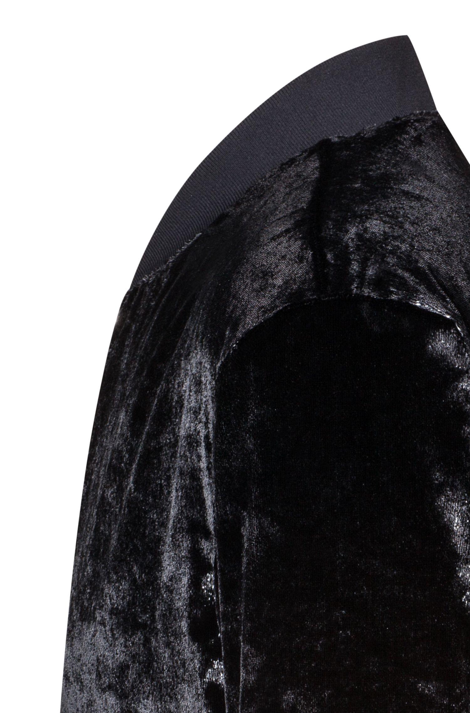 Cazadora bomber slim fit en tejido de terciopelo metalizado, Negro