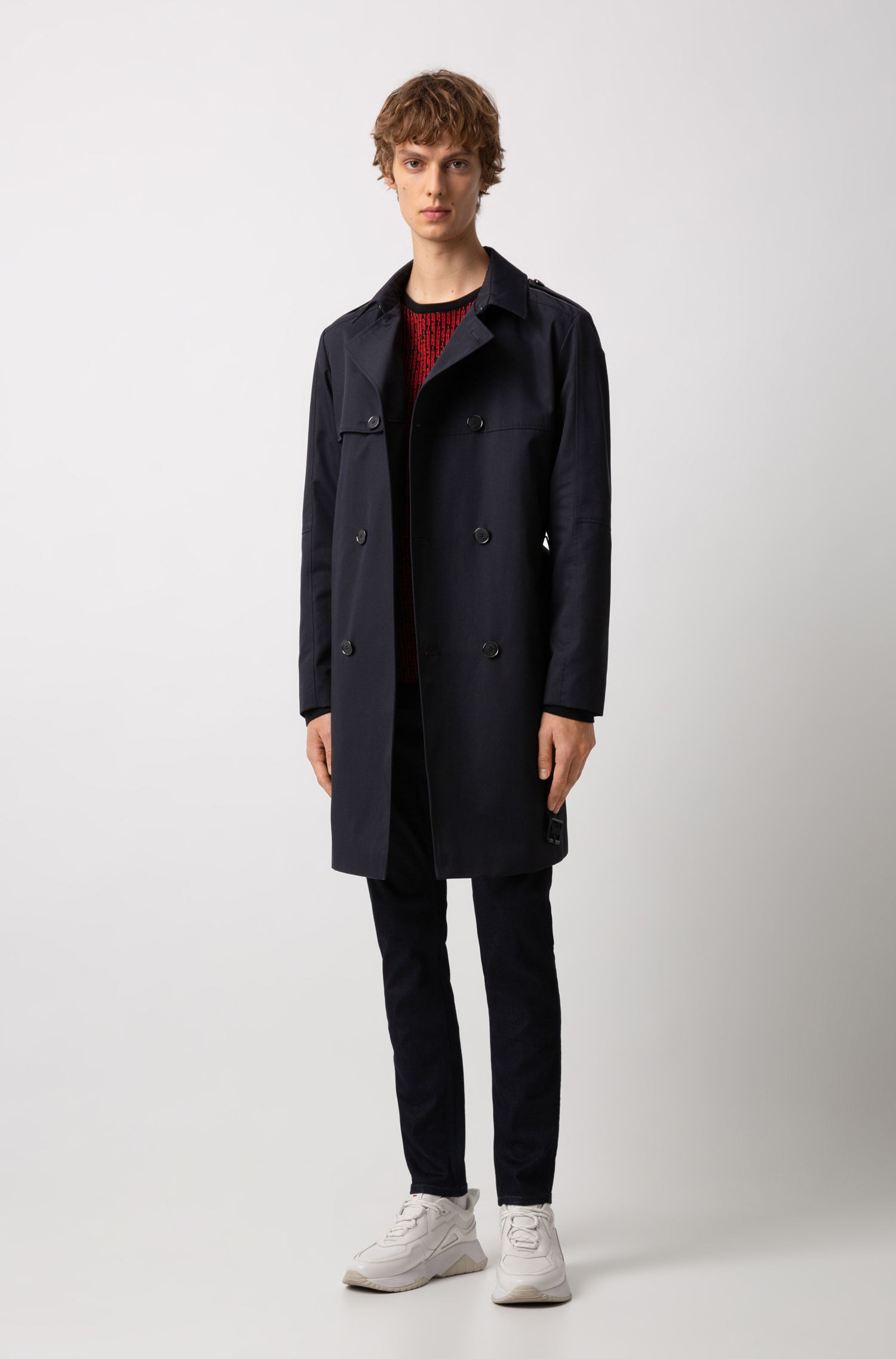 Double-breasted trench coat in water-repellent technical fabric, Dark Blue