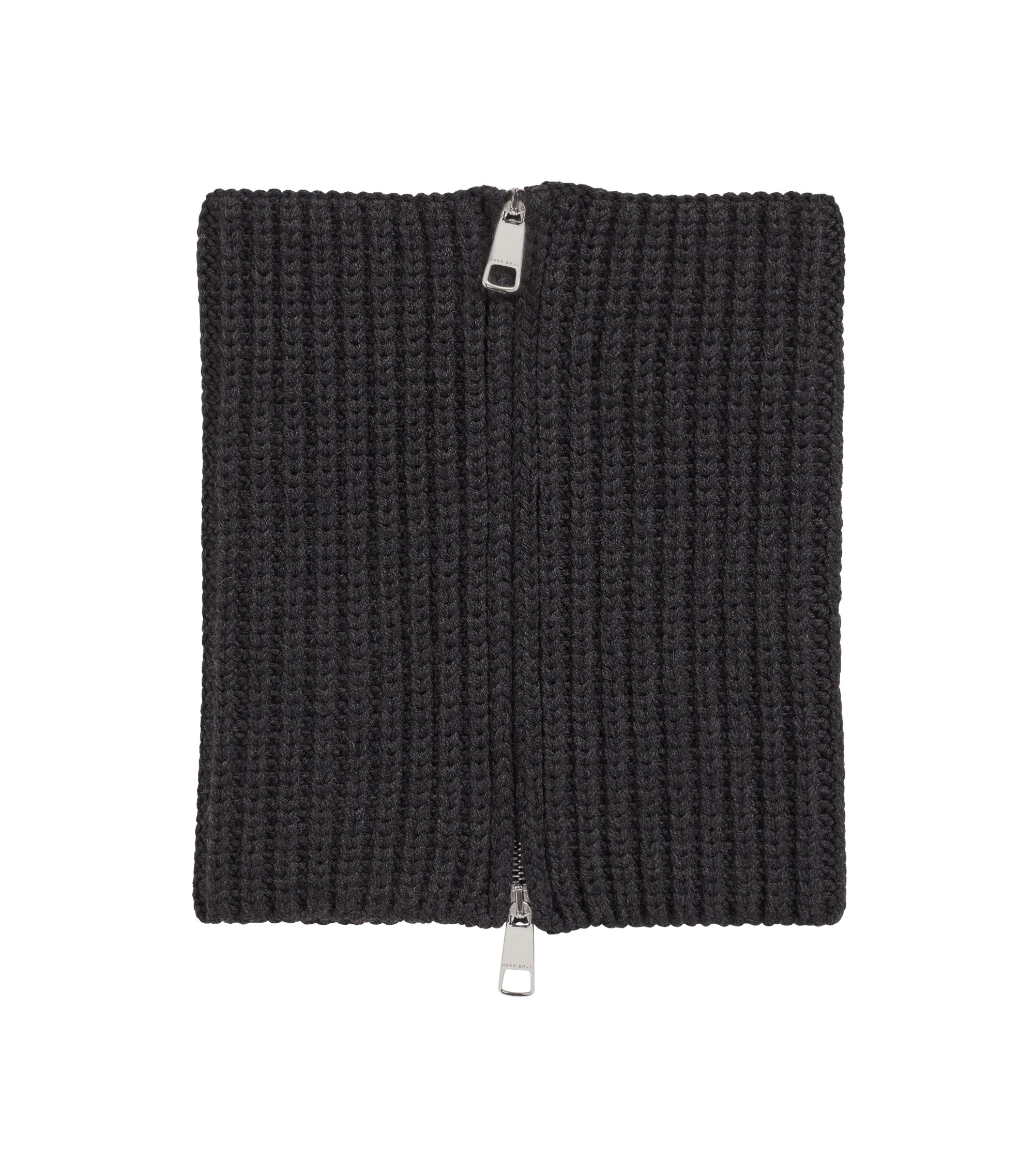 Gallery Collection zipped scarf in virgin wool, Dark GreyDark Grey
