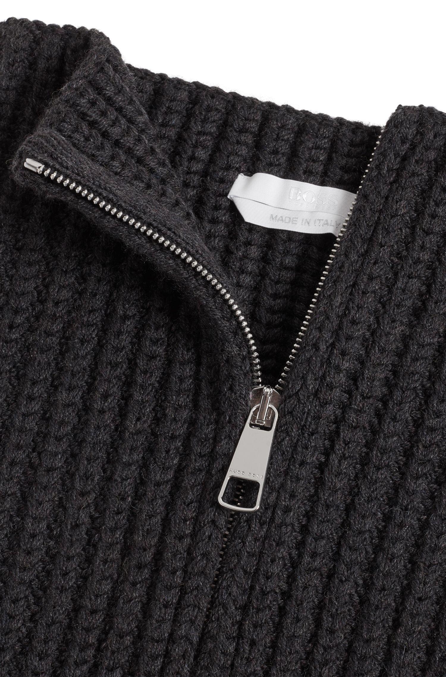 Bufanda con cremallera en lana virgen de la colección Gallery, Gris oscuro