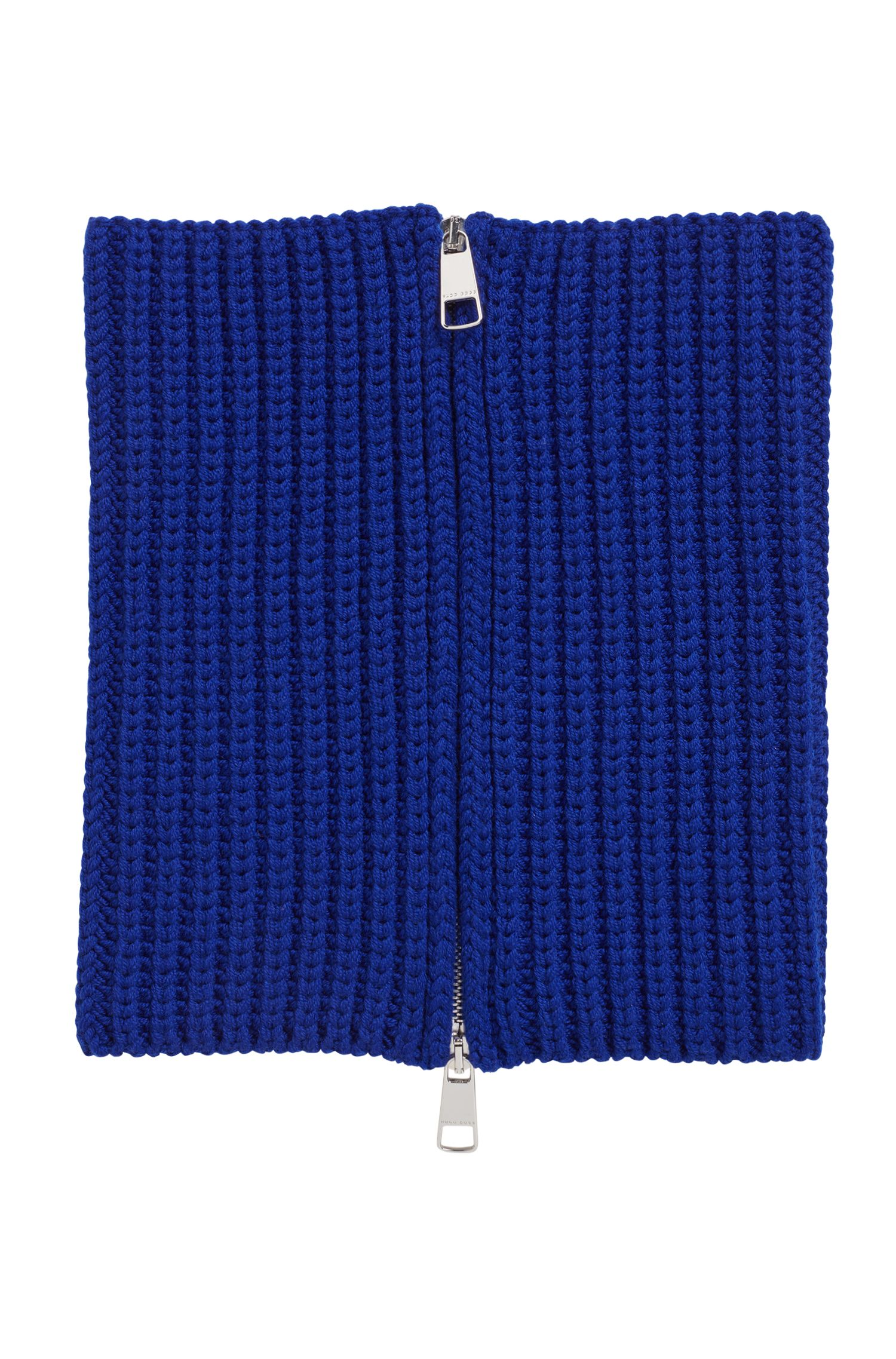 Gallery Collection zipped scarf in virgin wool, Blue