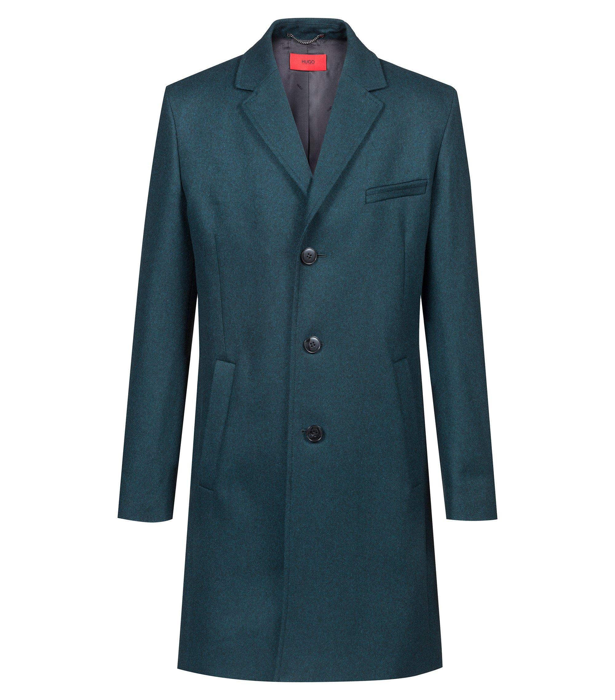 Slim-fit mantel van een scheerwolmix, Donkergroen