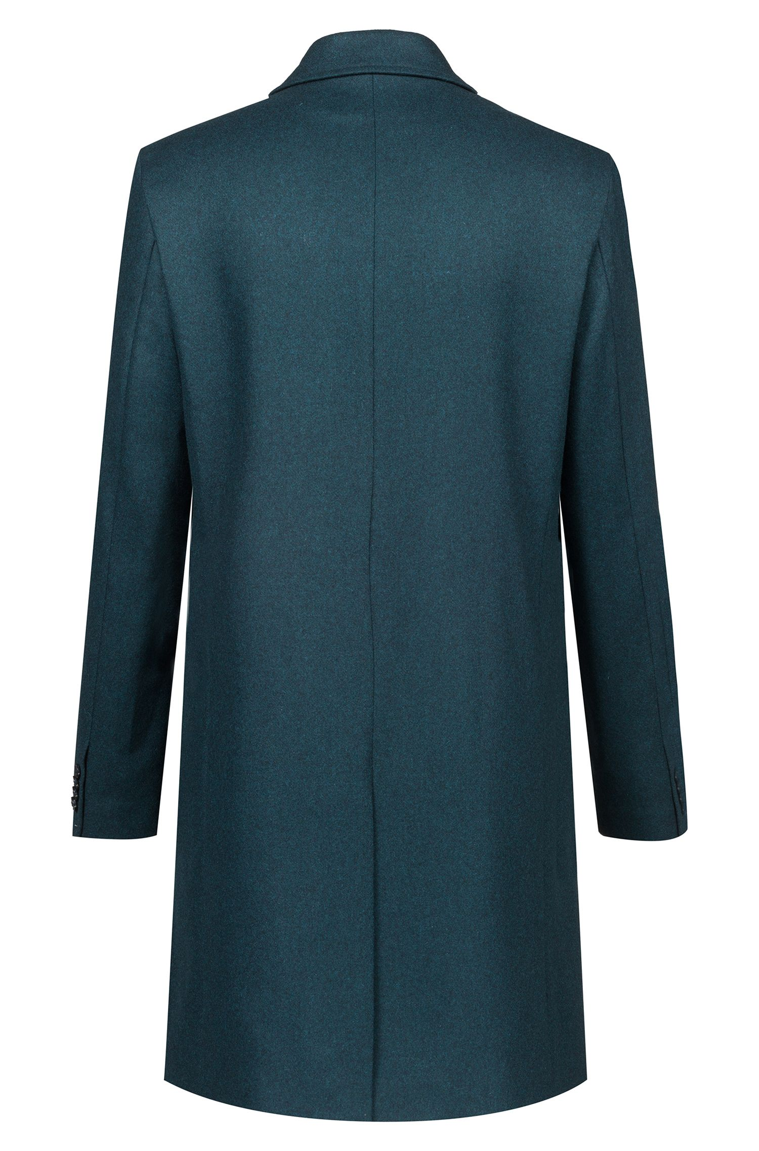 Slim-fit coat in a virgin-wool blend, Dark Green