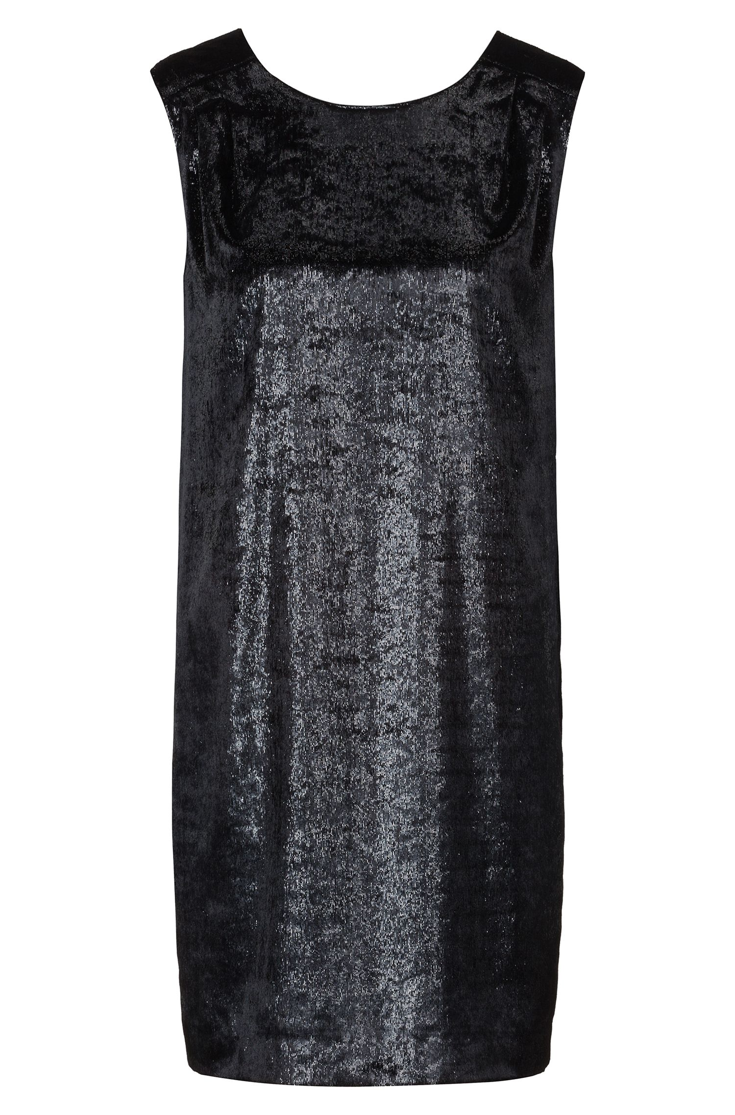 Relaxed-fit dress in velvet with V-neck back, Patterned