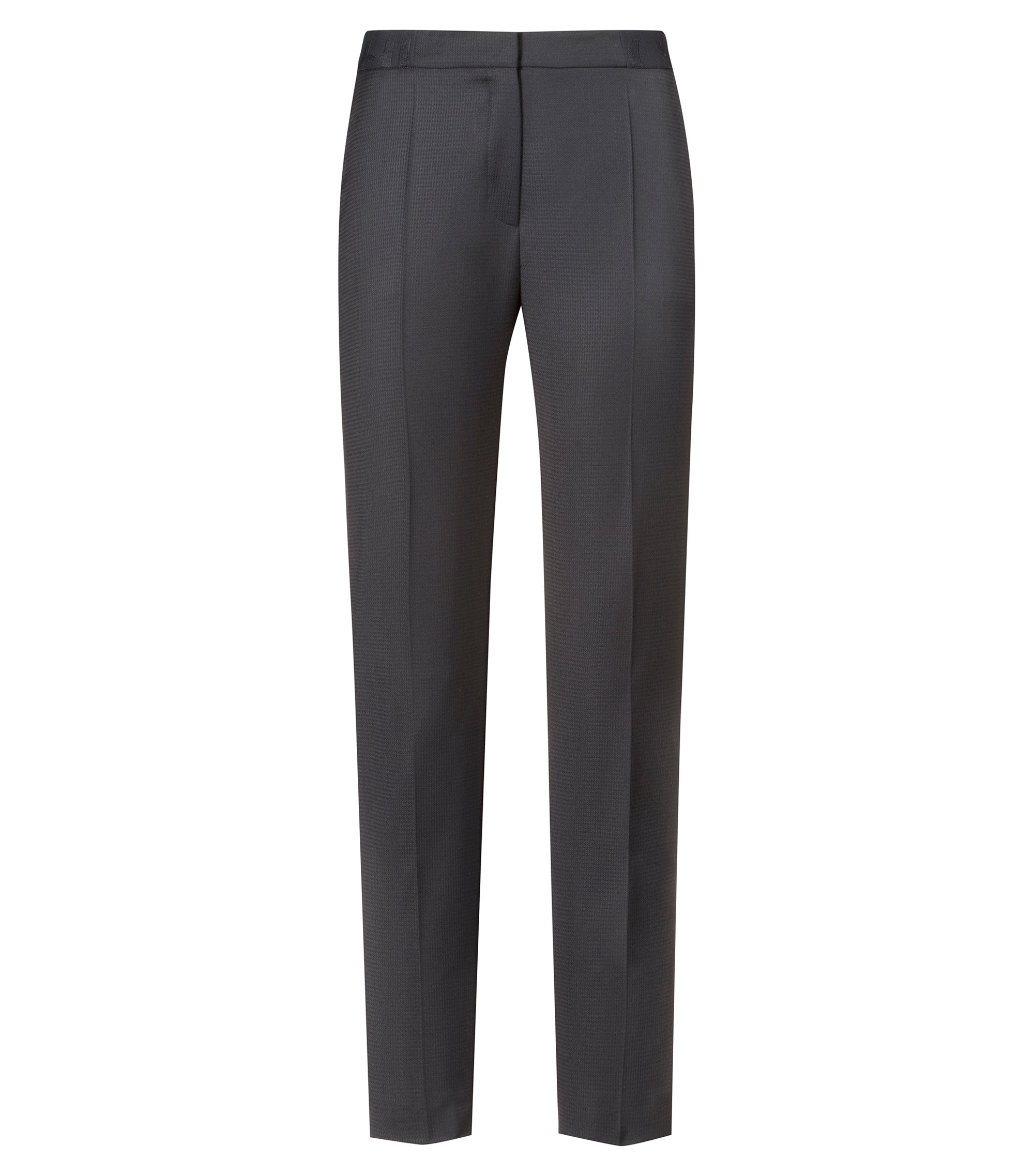 Regular-fit cigarette trousers with logo-ribbon waistband, Patterned