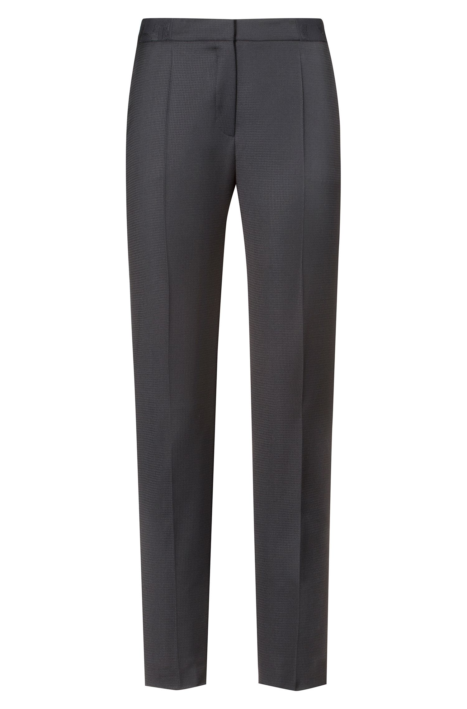 Regular-fit cigarette pants met logo op de tailleband, Bedrukt