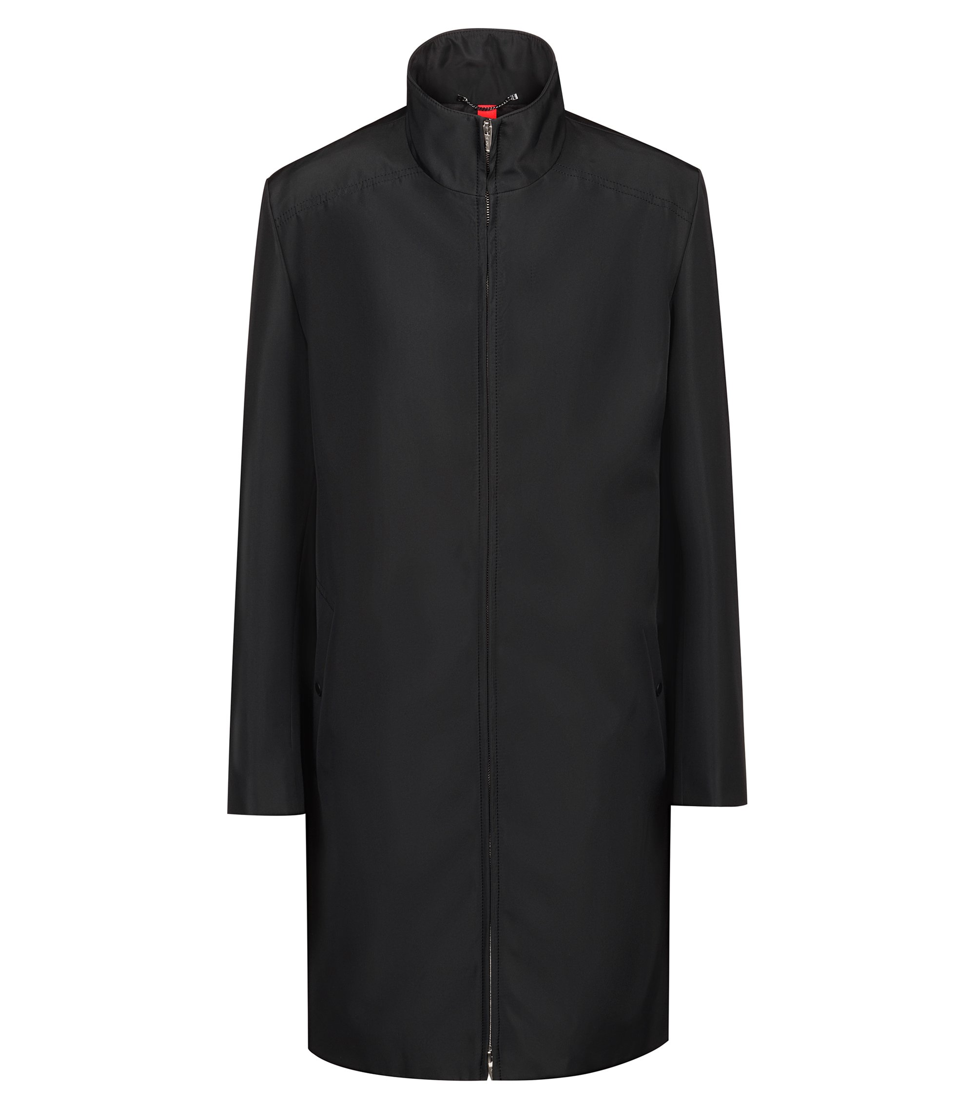 Relaxed-fit water-repellent coat with stand collar, Black