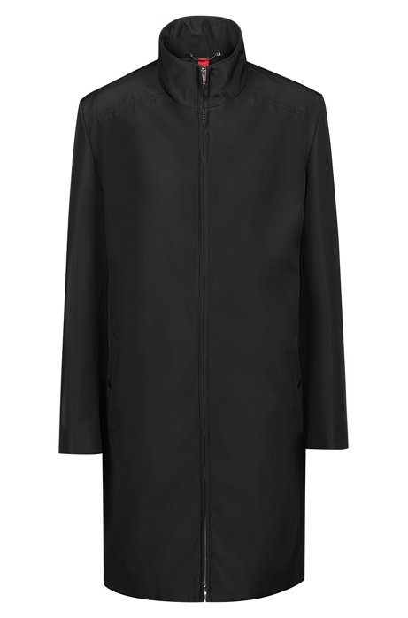 Wasserabweisender Relaxed-Fit Mantel mit Stehkragen, Schwarz