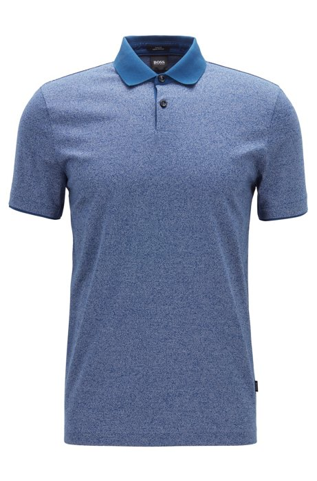 dfb5d9bcd64fe Slim-fit polo shirt in mouliné cotton with contrast collar, Dark Blue