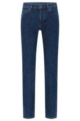 Regular-fit jeans in mid-blue stretch denim, Blue