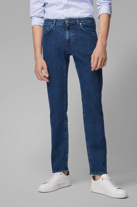 Regular-fit jeans in mid-blue Italian denim, Blue