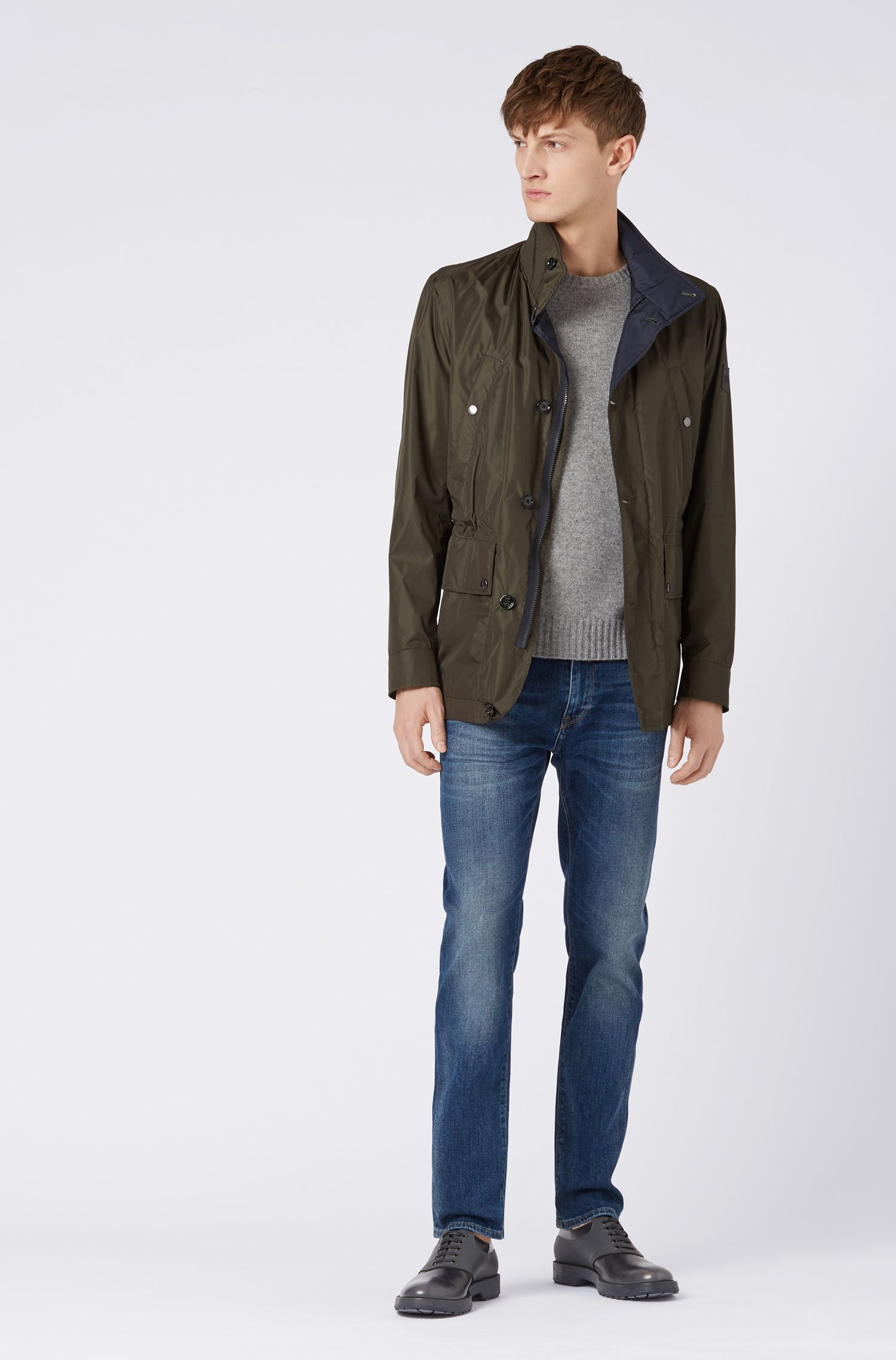 Regular-Fit Jeans aus gewaschenem Stretch-Denim, Dunkelblau