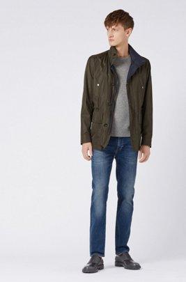 Regular-fit jeans in blue Italian stretch denim, Dark Blue