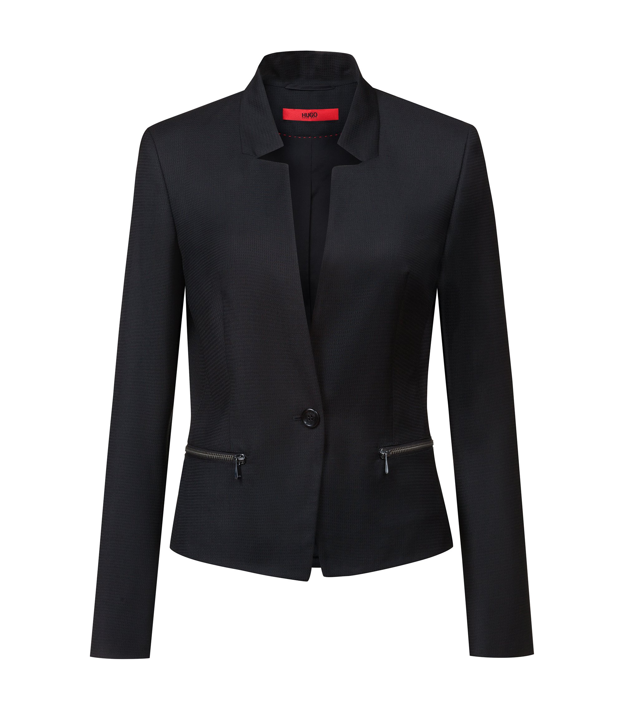 Regular-fit wool jacket with reverse lapels, Patterned