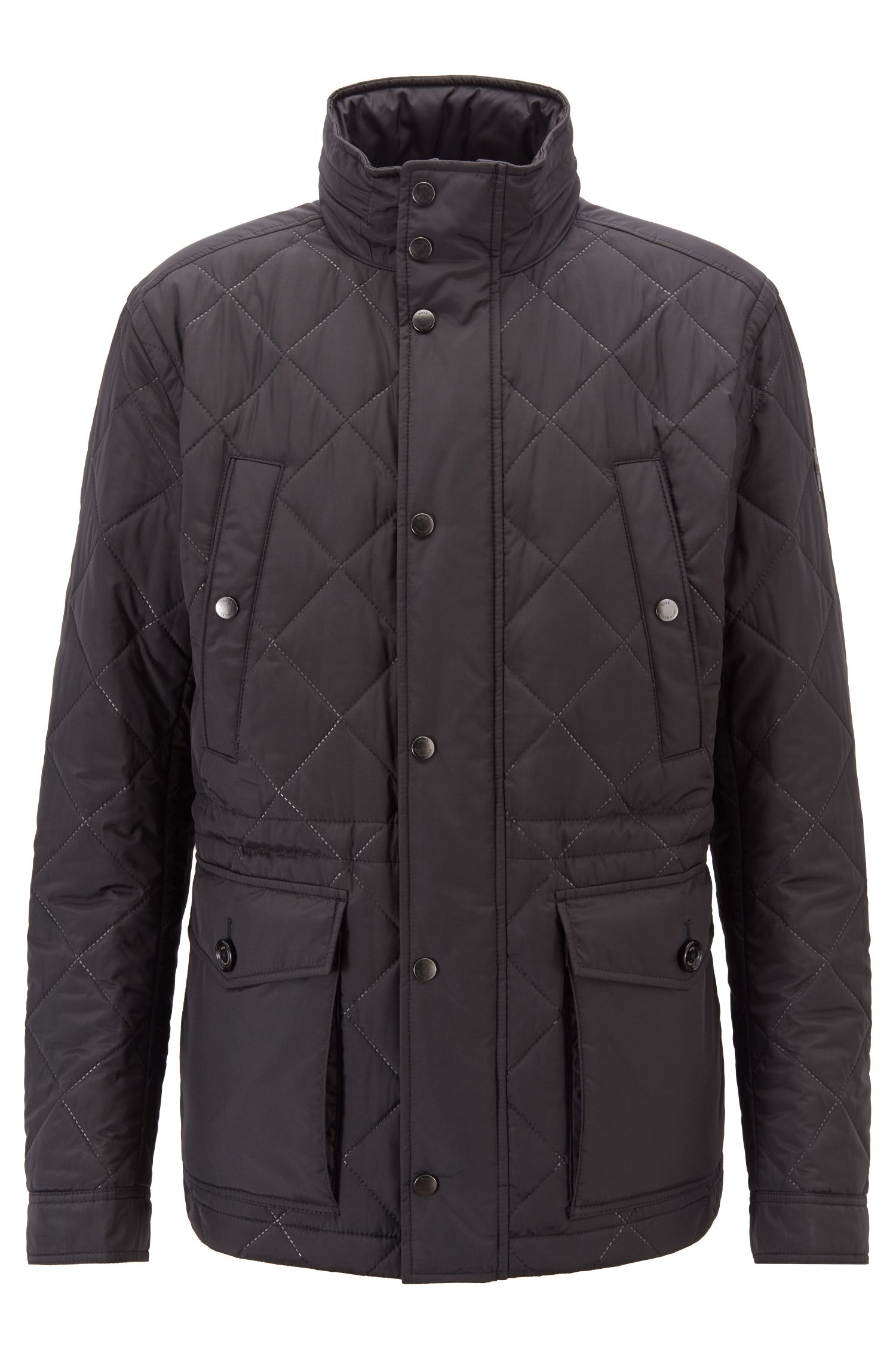 Water-repellent field jacket in ultrasonic quilted fabric, Black