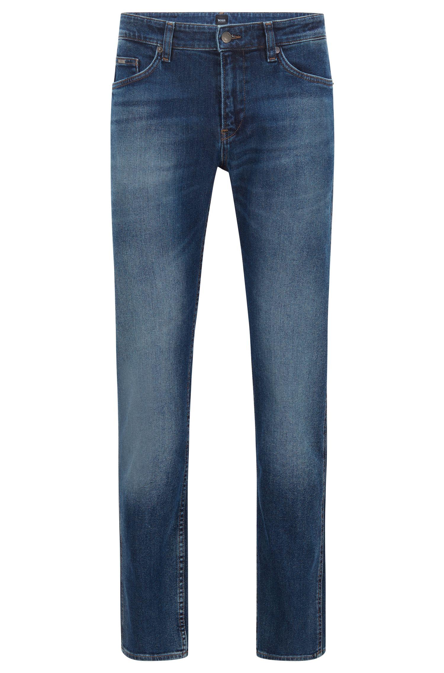Slim-Fit Jeans aus gewaschenem Stretch-Denim, Dunkelblau