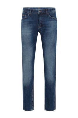 Slim-fit jeans in mid-washed Italian stretch denim, Dark Blue
