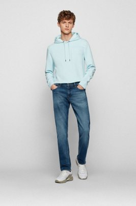 Slim-fit jeans in mid-washed Italian stretch denim, Dark Blue