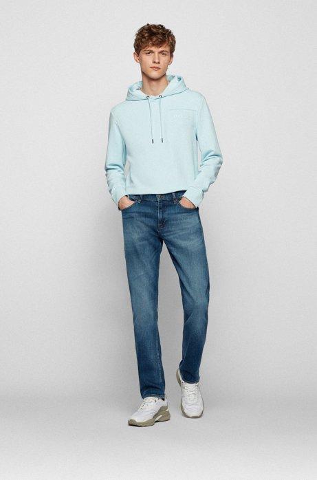 Slim-fit jeans van mid-washed Italiaans stretchdenim, Donkerblauw