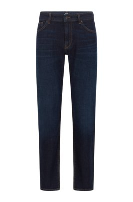 Regular-fit jeans in indigo Italian stretch denim, Blue