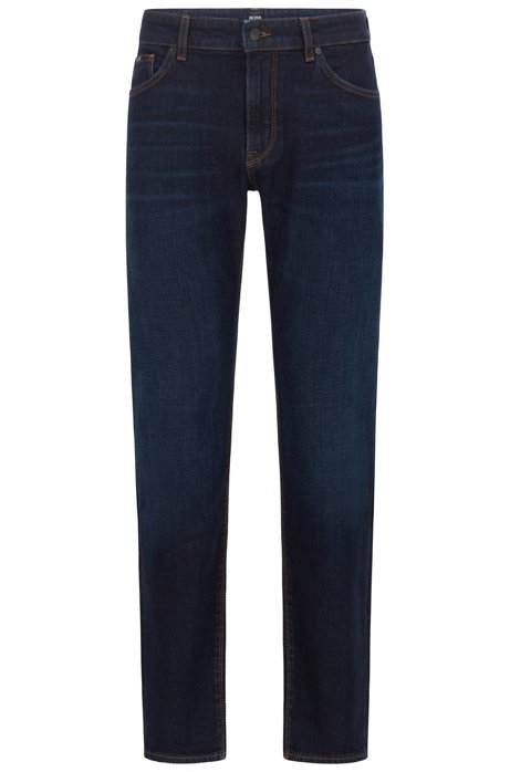 Regular-fit jeans in comfort-stretch indigo denim, Blue