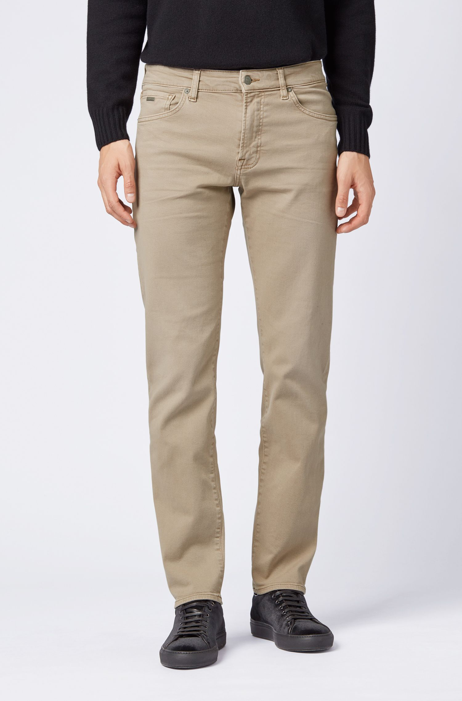 Regular-fit jeans in left-hand-twill stretch denim, Beige