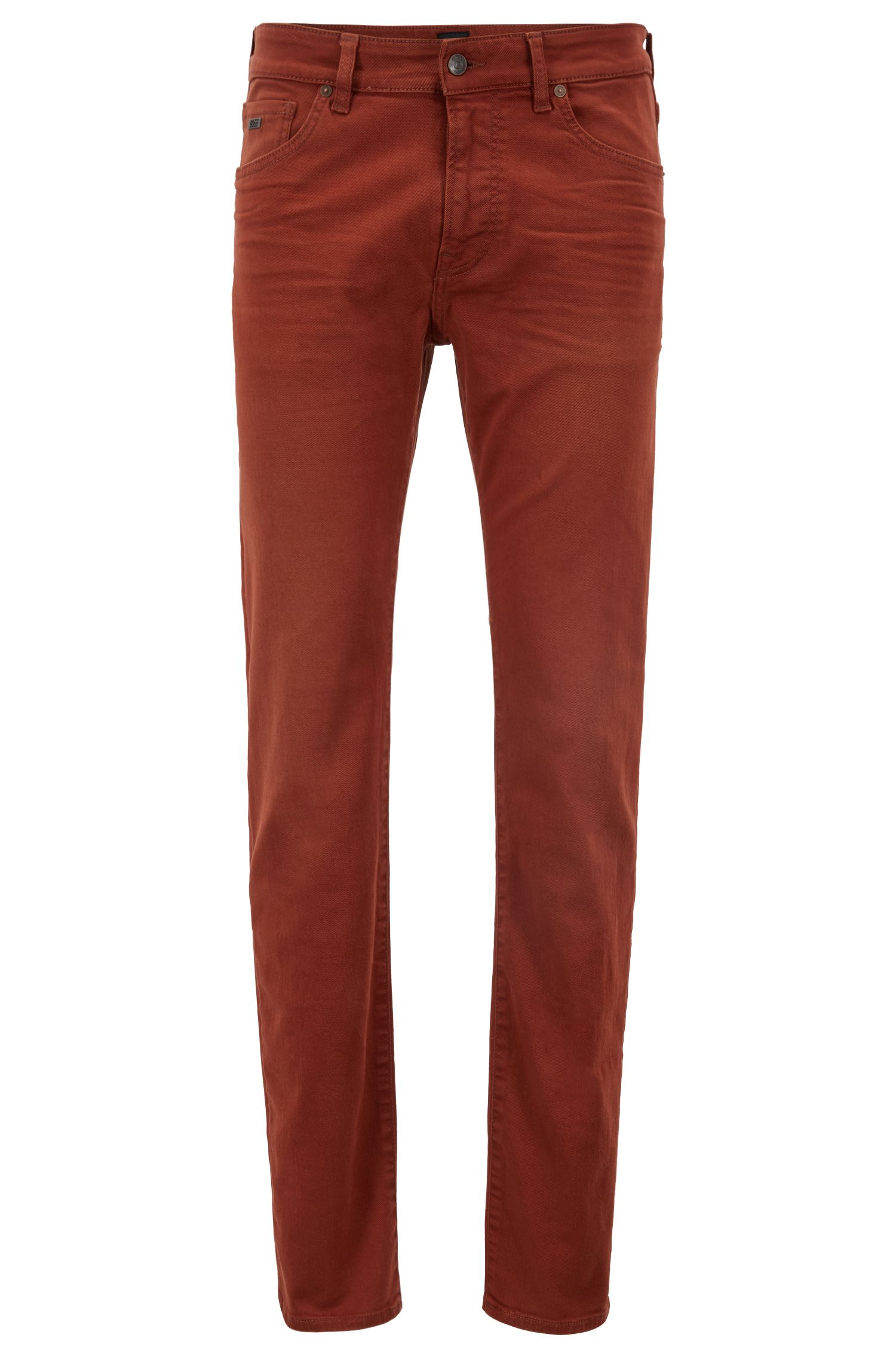 Jean Regular Fit en twill denim stretch au tissage gaucher, Rouge sombre