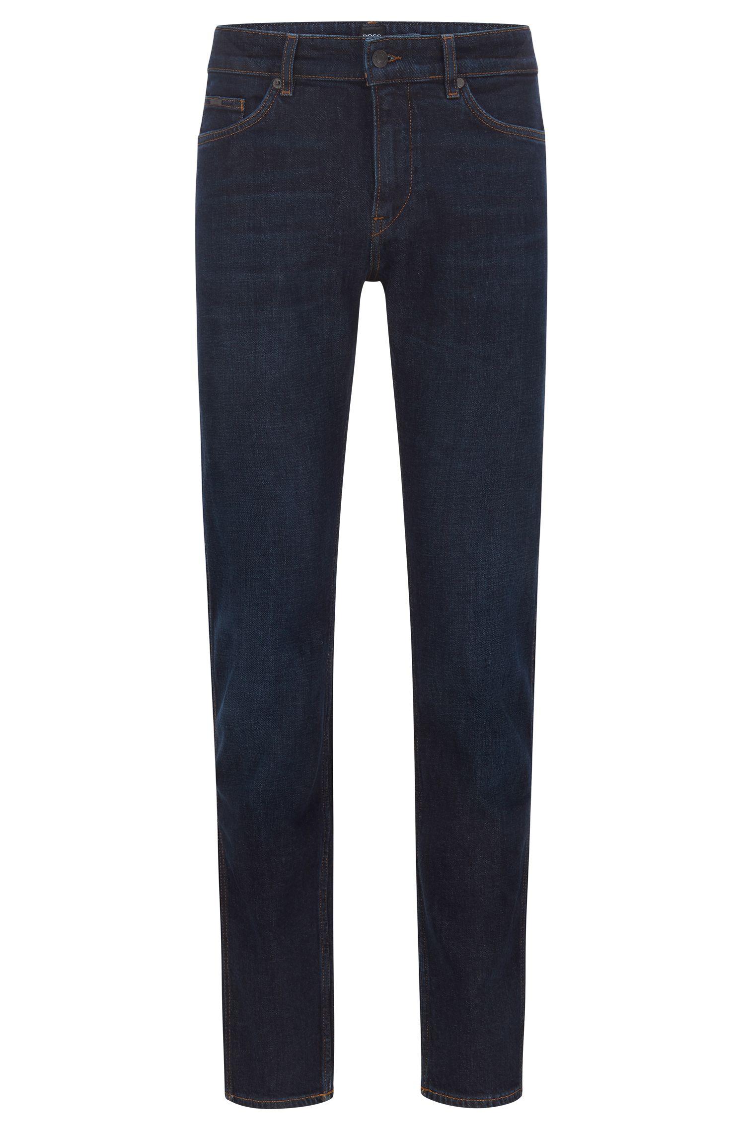 Slim-Fit Jeans aus gewaschenem italienischem Stretch-Denim, Blau
