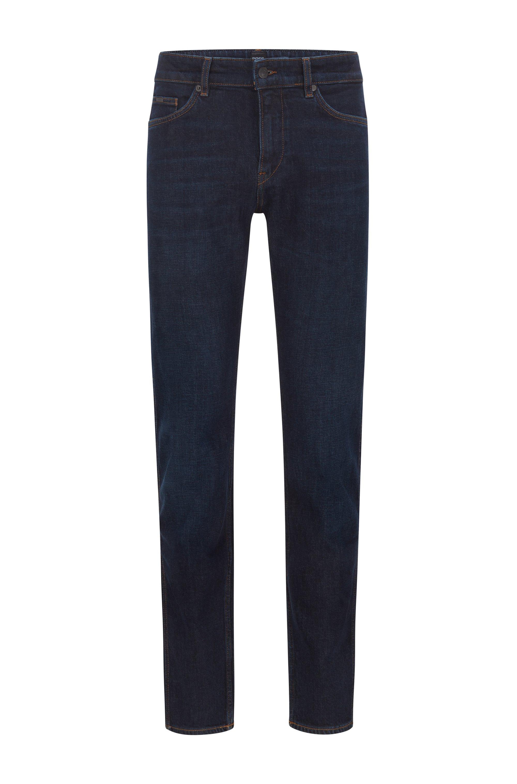 Slim-fit jeans in dark-blue Italian denim, Blue