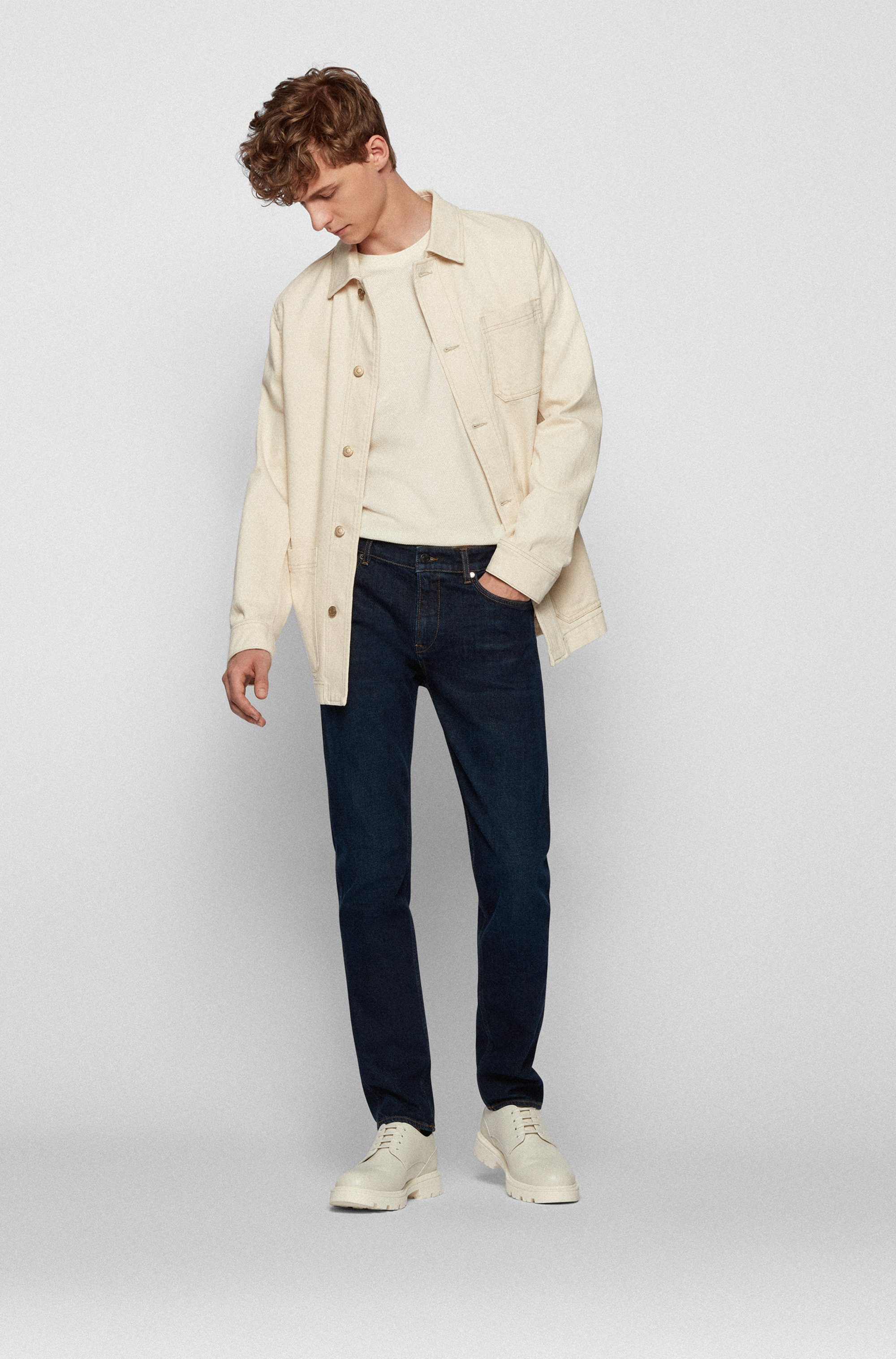 Slim-fit jeans in dark-blue Italian denim