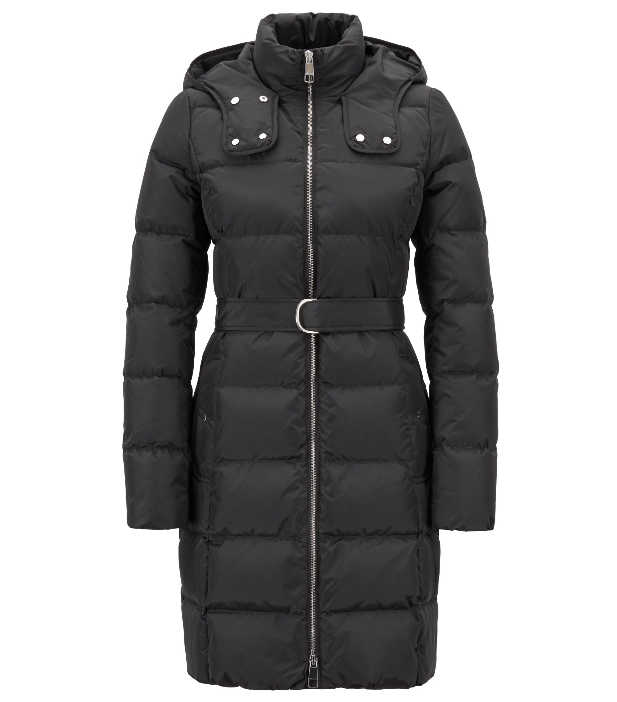 Water-repellent down jacket with detachable belt and hood, Black