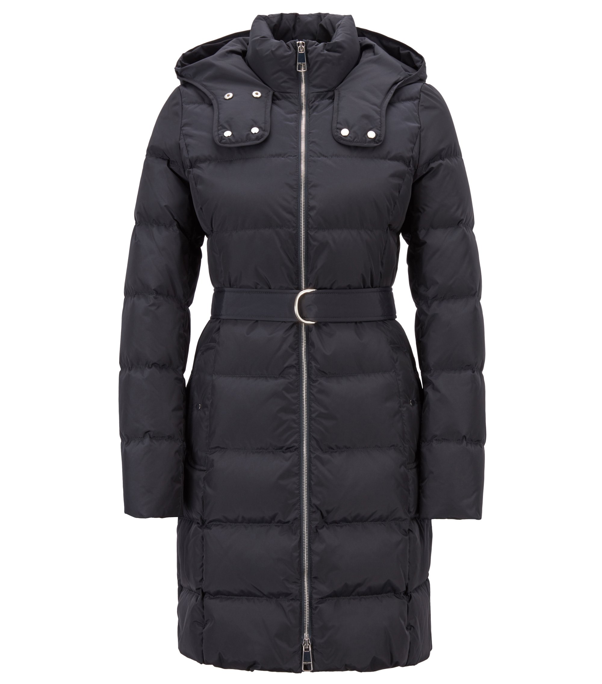 Water-repellent down jacket with detachable belt and hood, Dark Blue